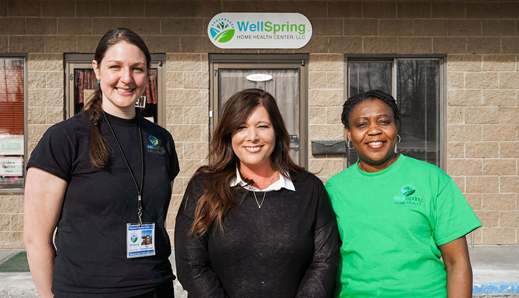 WellSpring Home Health employees in front of Wasilla, Alaska office.